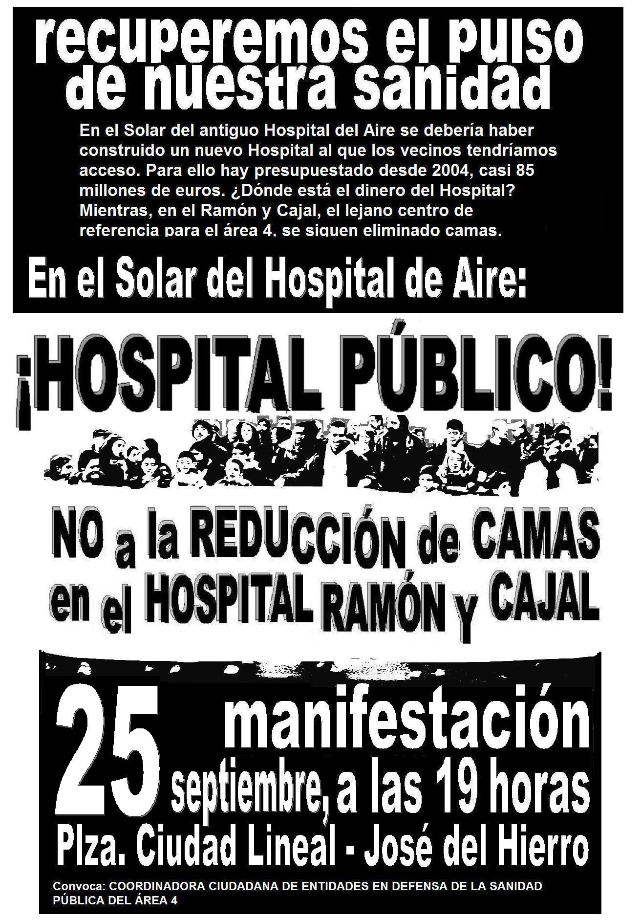 Manifestacin del 25 de septiembre: En este solar (hospital de Aire) queremos un hospital pblico!