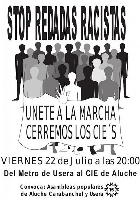 El 22 de julio, Marcha contra los CIE's y las redadas racistas