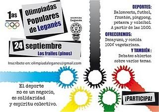I OLIMPIADAS POPULARES DE LEGANÉS (ASAMBLEA POPULAR DE LEGANÉS 15M)