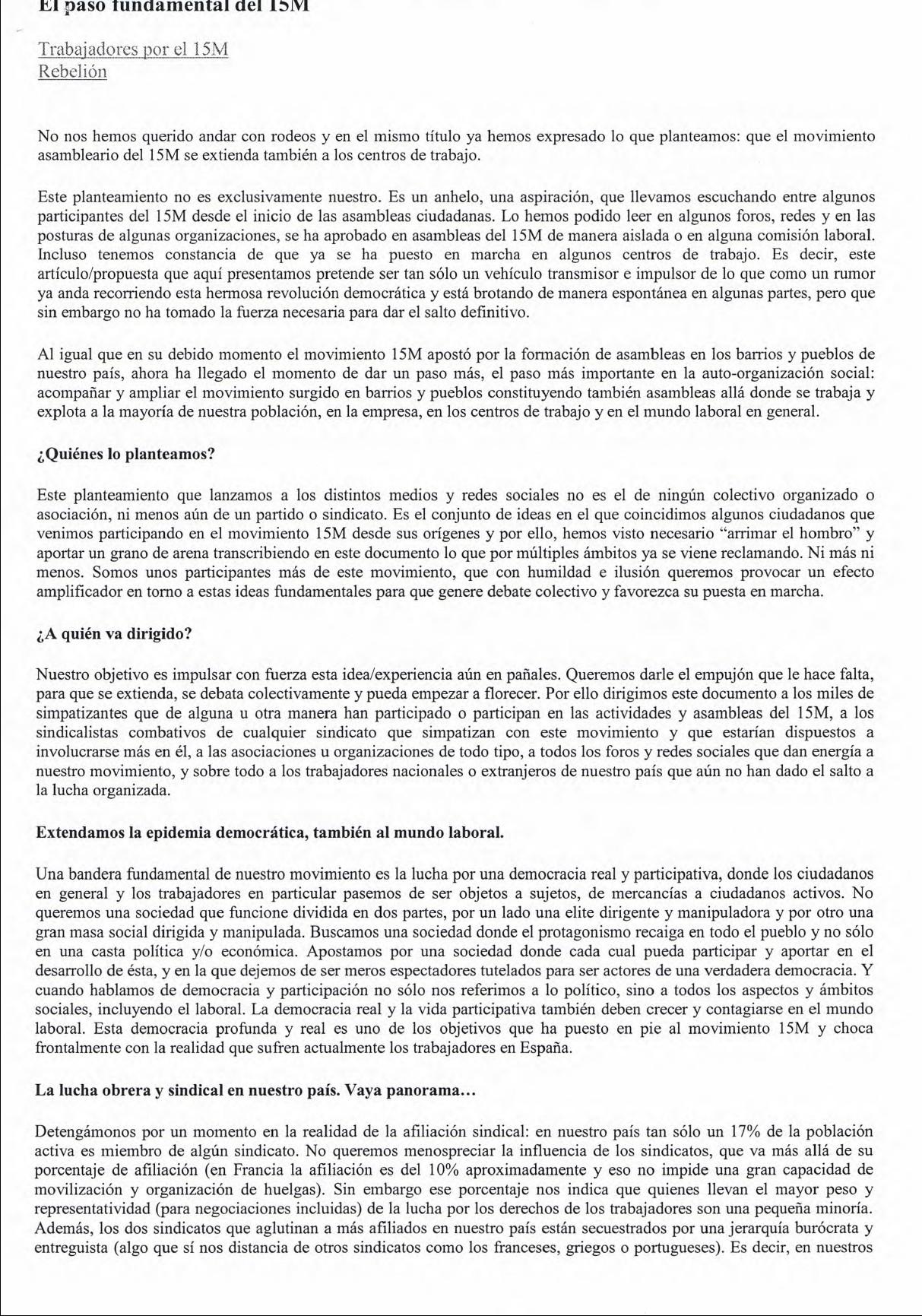 REFUNDACIÓN DE LA IZQUIERDA (3): Nuevas Formas Organizativas (1).- 15 M