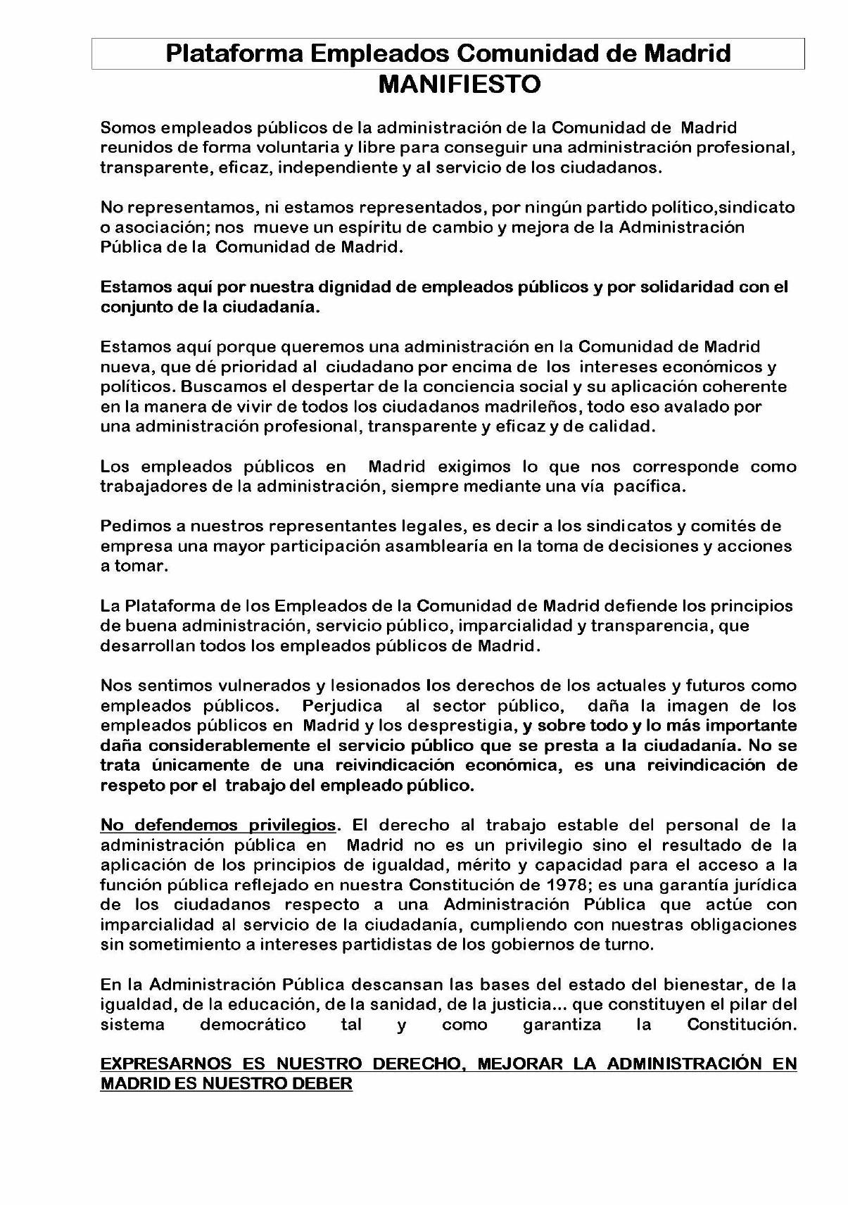 Manifiesto de la Plataforma de Empleados Públicos