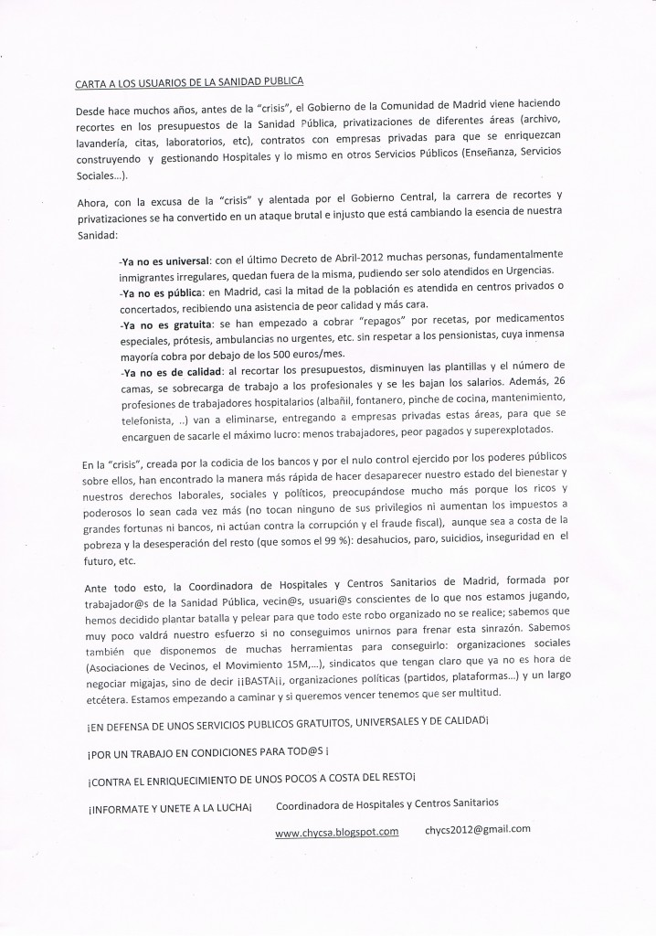 carta a usuarios