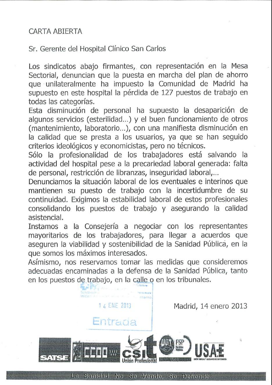 Carta abierta de los Sindicatos de la Mesa Sectorial al Gerente del Hospital Clínico San Carlos.