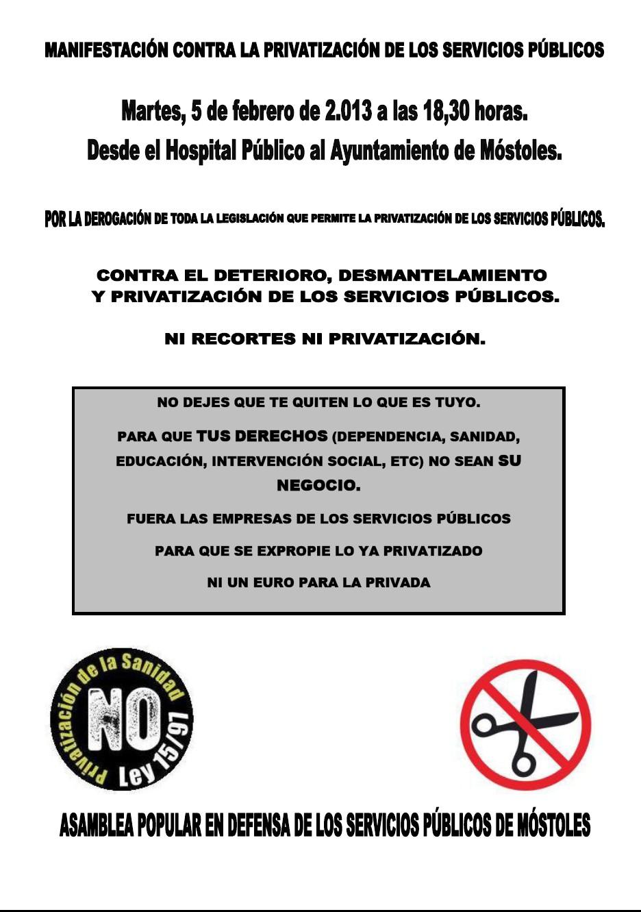 Manifestación 5 de febrero de 2013 a las 18,30 horas en DEFENSA DE LOS SERVICIOS PÚBLICOS
