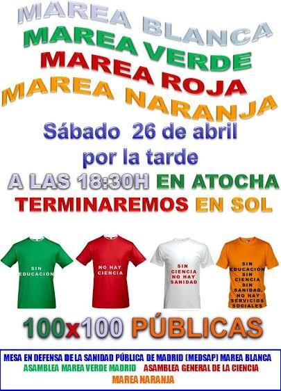 La Marea Blanca, la Verde, los científicos y los trabajadores sociales se unen contra los recortes de Ignacio González