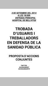 6 DE SETEMBRE: Jornada pel dret a decidir sobre la nostra salut i el sistema sanitari de Catalunya