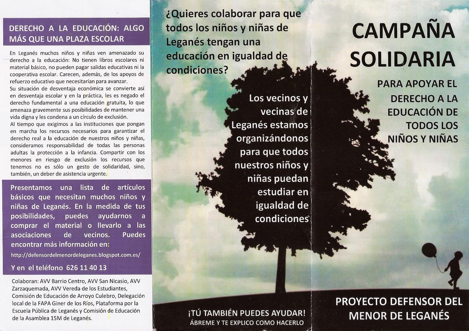 CAMPAÑA SOLIDARIA. Proyecto del Defensor del Menor de Leganés.