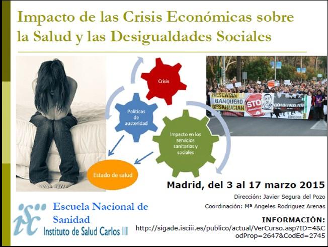"""Nos vemos en marzo en la Escuela Nacional de Sanidad: Curso """"Impacto de la crisis en la salud y las desigualdades sociales"""""""