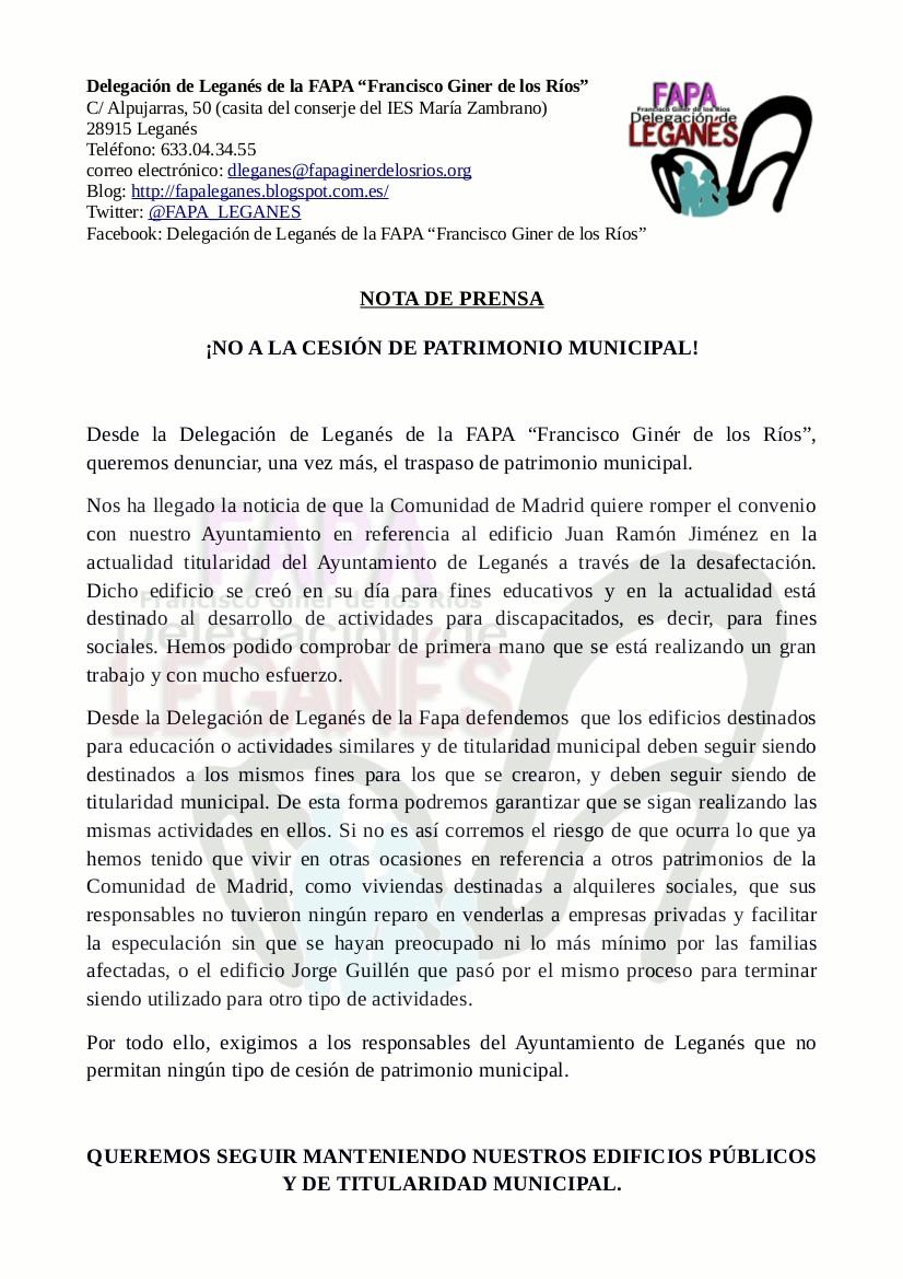 NOTA DE PRENSA: NO A LA CESIÓN DE PATRIMONIO MUNICIPAL.