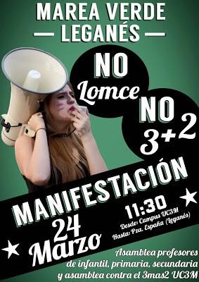 Huelga de profesores de infantil, primaria y secundaria, y manifestación día 24 de marzo.