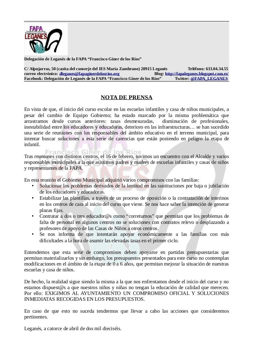 NOTA DE PRENSA, sobre Escuela Infantiles Municipales.