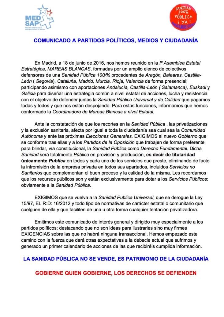 MAREAS BLANCAS DEL ESTADO ANTES DEL 26J COMUNICAN A PARTIDOS POLÍTICOS SUS EXIGENCIAS