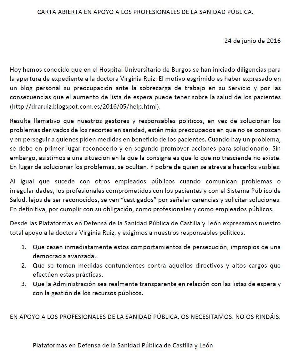 Las Plataformas de Castilla y León en apoyo de los profesionales de la Sanidad Pública
