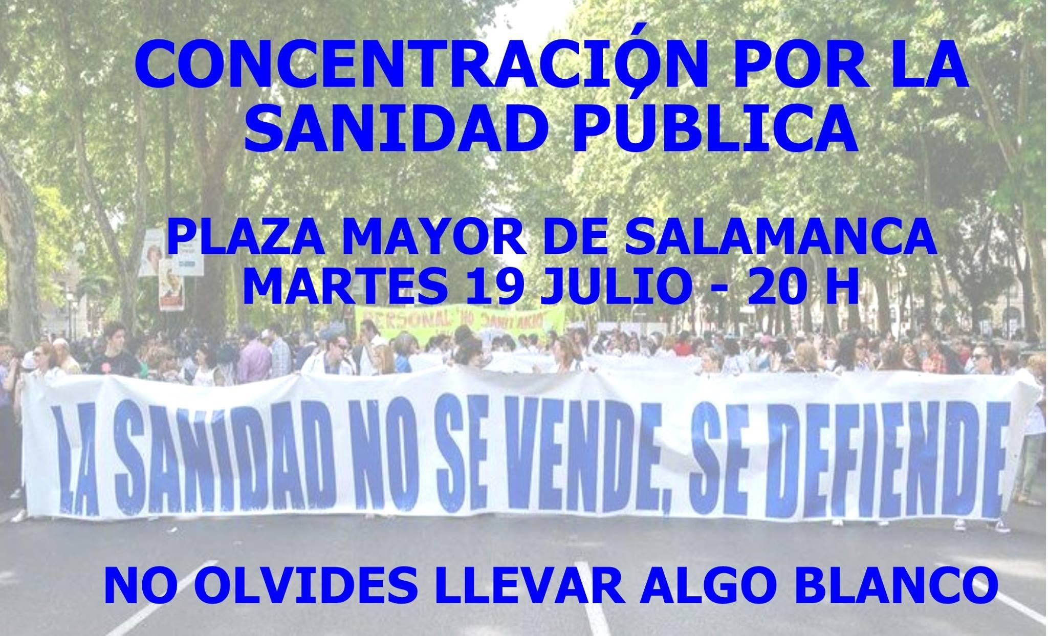 Concentración por la Sanidad Publica. Salamanca 19.7.16