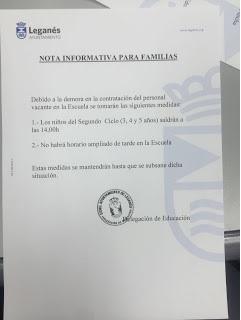 Lamentable gestión municipal de las Escuelas Infantiles.