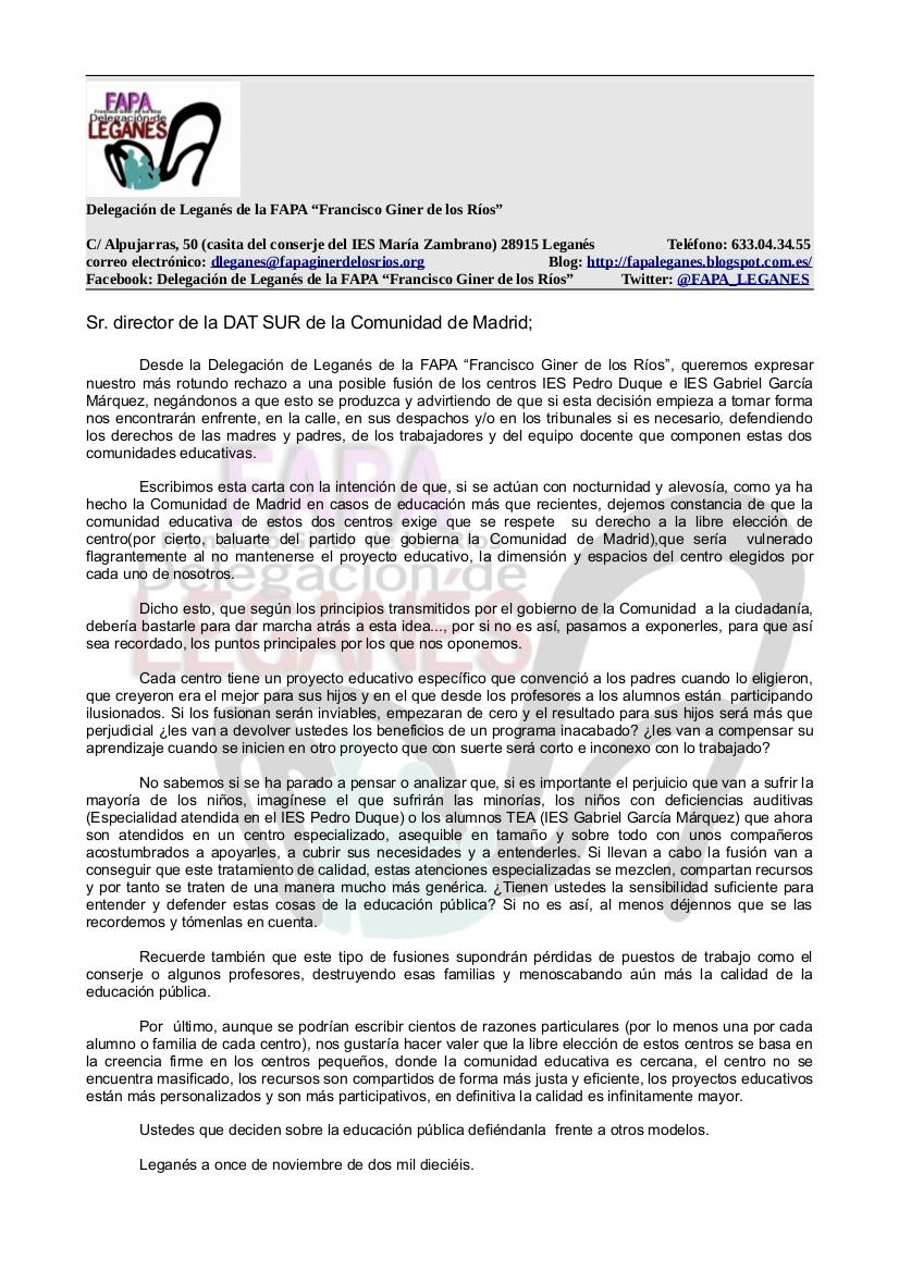 Escrito al Director de la DAT Madrid-Sur sobre la NO FUSIÓN de los IES Pedro Duque y Gabriel García Márquez