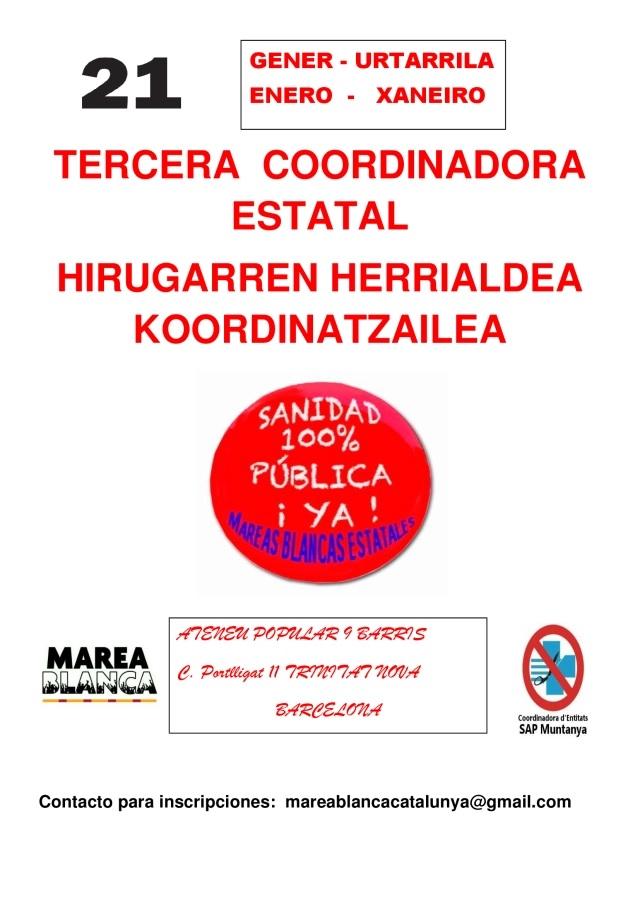 3ª COORDINADORA MAREA BLANCA ESTATAL; BARCELONA 21 Enero.