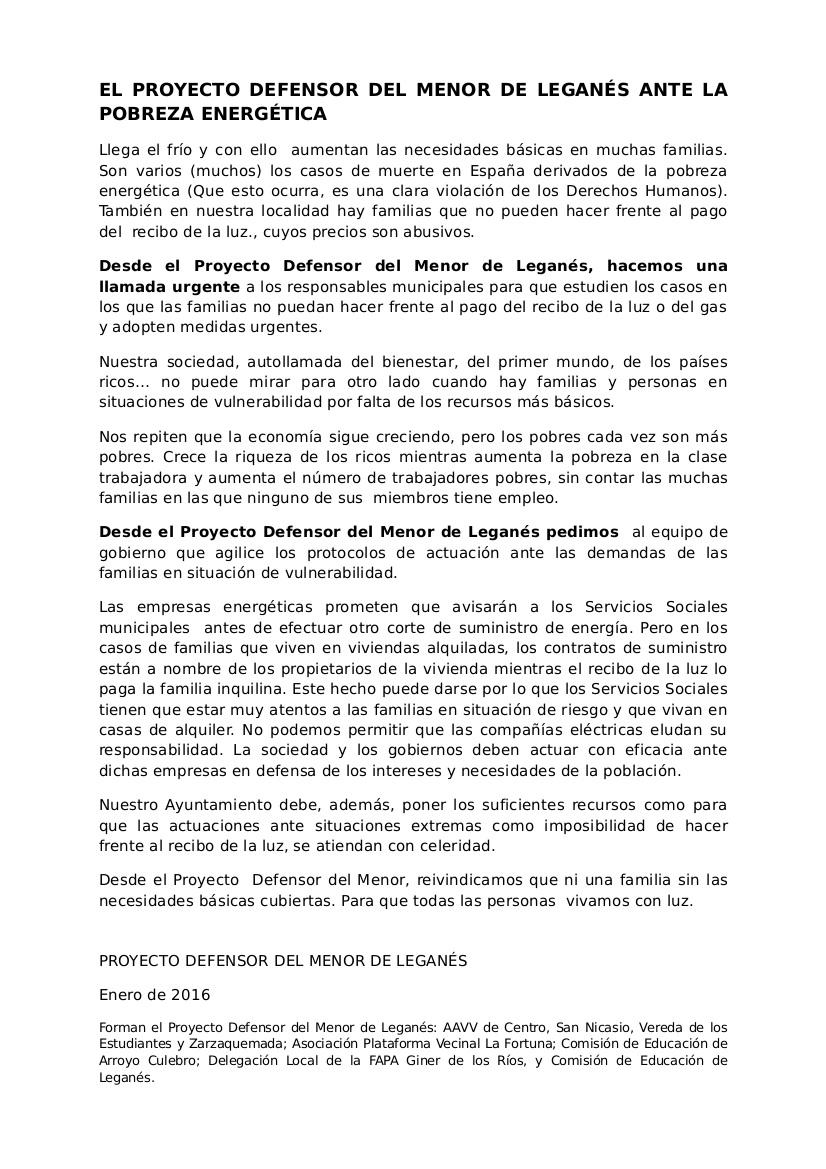 LLEGA EL FRÍO. Nota de Prensa del Proyecto Defensor del Menor de Leganés