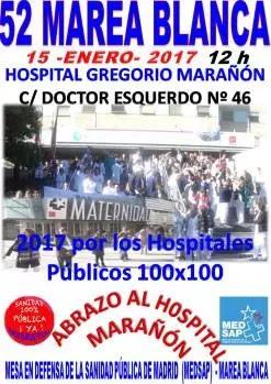 La 52ª Marea Blanca abrazará al hospital Gregorio Marañón