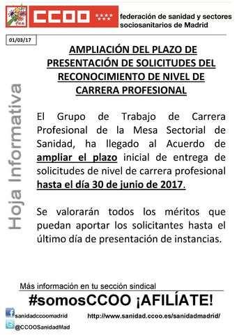 Ampliación del plazo de presentación de solicitudes del reconocimiento de nivel de carrera profesional