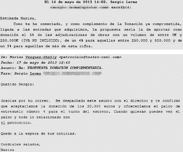 """Investigan """"donaciones"""" a cambio de obras en el Teatro Real"""