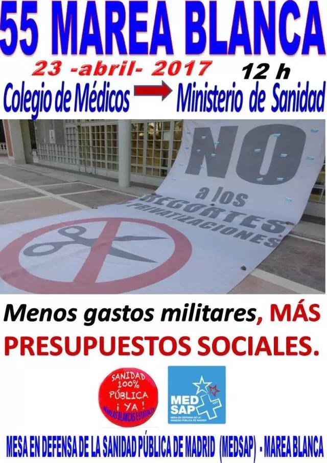 FIN DE SEMANA POR LA SANIDAD PÚBLICA. 55ª MAREA BLANCA TRAS LA ASAMBLEA ESTATAL DE MAREAS BLANCAS